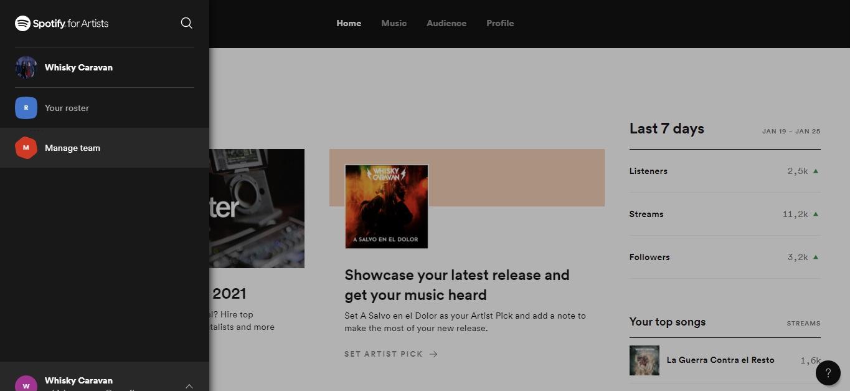 captura pantalla Spotify for artist 1