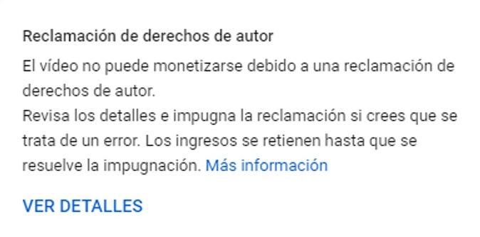 Mensaje reclamación youTube